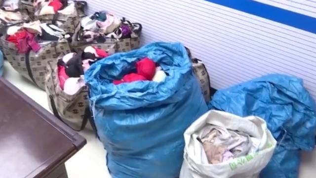 安徽六安一男子偷2409件内衣,装满12麻袋,民警清点一个多小时