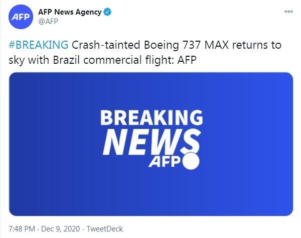 因坠机事件停飞超20个月后,波音737MAX复飞
